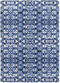 KAVKA Designs Shibori 镜面地毯,(蓝色)- SALTWATER 系列,尺寸:3x5x.5 - (BBAAVC6502RUG35)