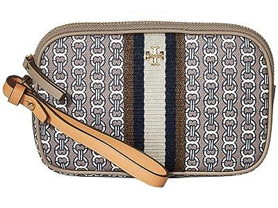 Tory Burch Gemini Link Canvas Wristlet (Gray Heron Gemini Link) Handbags