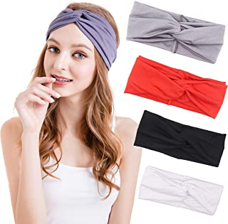 Women Headband – 4 Pack Headbands for Women Outdoor Hairband Sport Headband Turban Headwrap Bows Head Band Girls Hair Accessories Hairband
