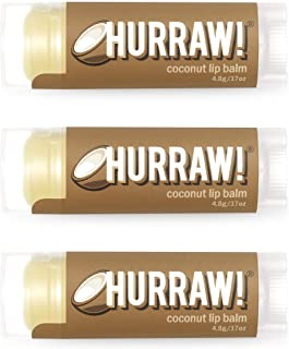 Hurraw! Coconut Lip Balm, 3 Pack: Organic, Certified Vegan, Cruelty and Gluten Free. Non-GMO, 100% Natural Ingredients. Be...