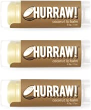 product image for Hurraw! Coconut Lip Balm, 3 Pack: Organic, Certified Vegan, Cruelty and Gluten Free. Non-GMO, 100% Natural Ingredients. Bee, Shea, Soy and Palm Free. Made in USA