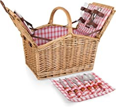 Picnic Time Piccadilly Willow Picnic Basket for Two People, with Plates, Wine Glasses, Cutlery, and Corkscrew - Red/White ...