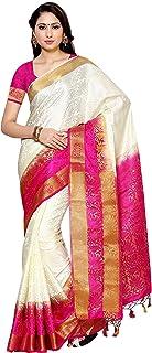MIMOSA Women's Silk Saree With Blouse Piece(2092-2D-HWT-RNI_White_Free Size)