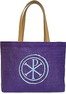 Christian Bag Chi Rho Jute Bag - Purple Color - Medium Size - Tote Bag Women Shoulder Bag Shopping Tote Multipurpose Bag Market Bag Day Trip Bag Office Tote School Bag Gym Bag Church Bag Holiday Gift