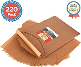 Parchment Paper Baking Sheets by Baker's Signature | Precut Silicone Coated & Unbleached – Will Not Curl or Burn – Non-Toxic & Comes in Convenient Packaging – 12x16 Inch Pack of 220