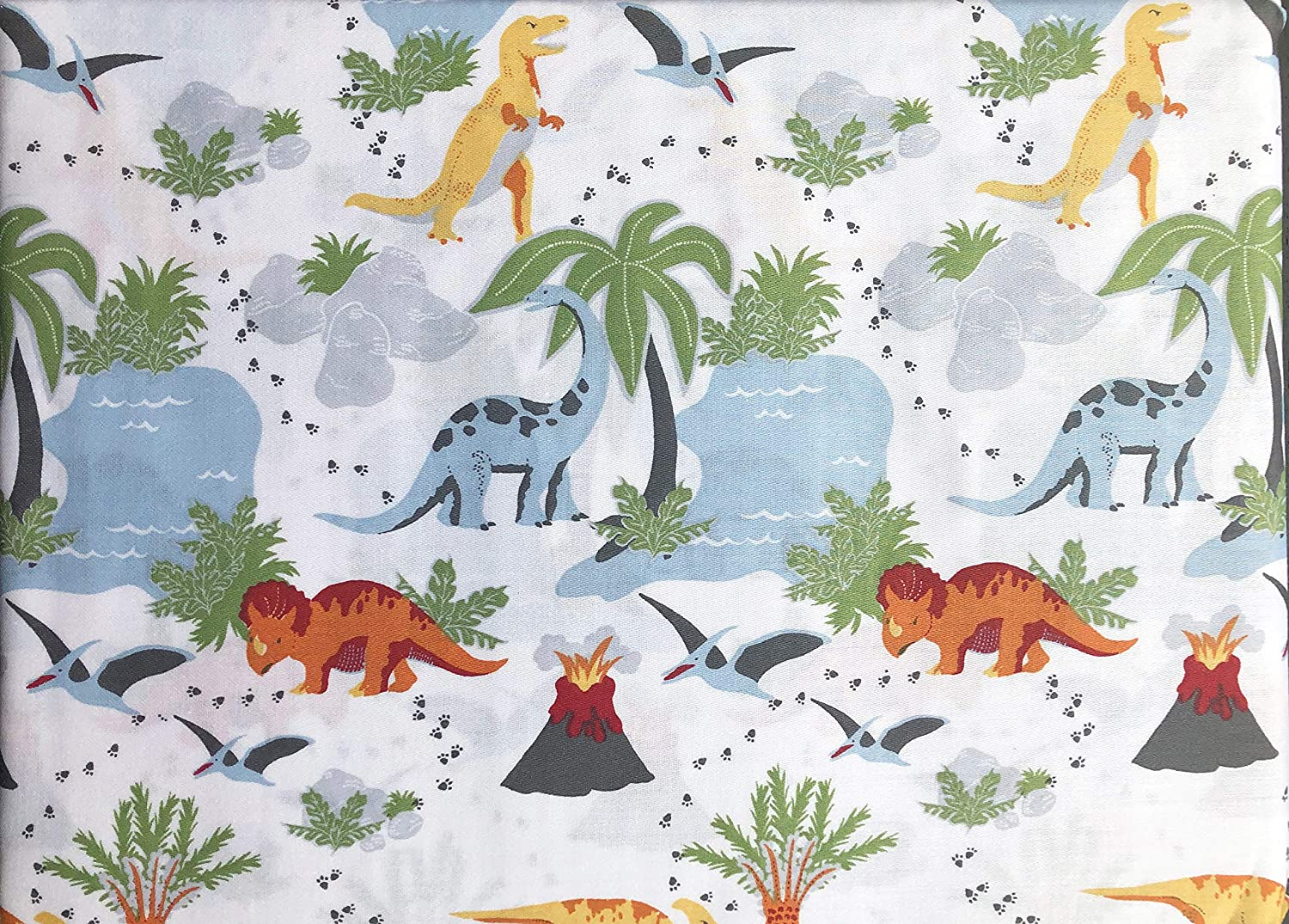 Max Studio Kids Bedding 3 Piece Twin Size Single Bed Cotton Sateen Sheet Set Dinosaur Forest Palm Trees Volcanoes Lakes