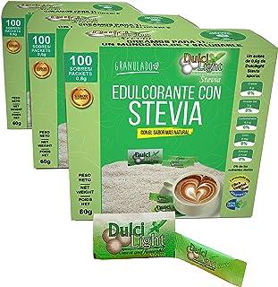 Stevia Édulcorant Granulé 300 Sticks 0% Calories DulciLight   100% Natural   Paquet de 3 x 100 pièces chacun  Le Meilleur ...