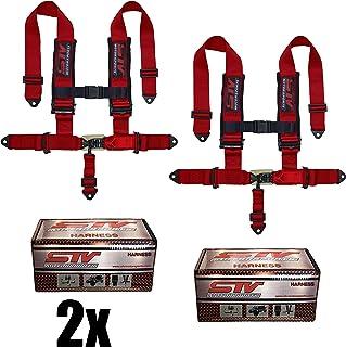 STVMotorsports Arnés de Asiento de Carreras de 5 Puntos SFI 16.1 Pestillo y Enlace de 7,62 cm Almohadillas para Orejas RH5.3H – para vehículos Todoterreno, UTV, Camiones (par), Rojo
