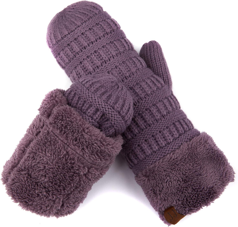 C.C Women Thick Knit Faux Fur Sherpa Fleece Lined Warm Winter Gloves Mittens (CG-36)