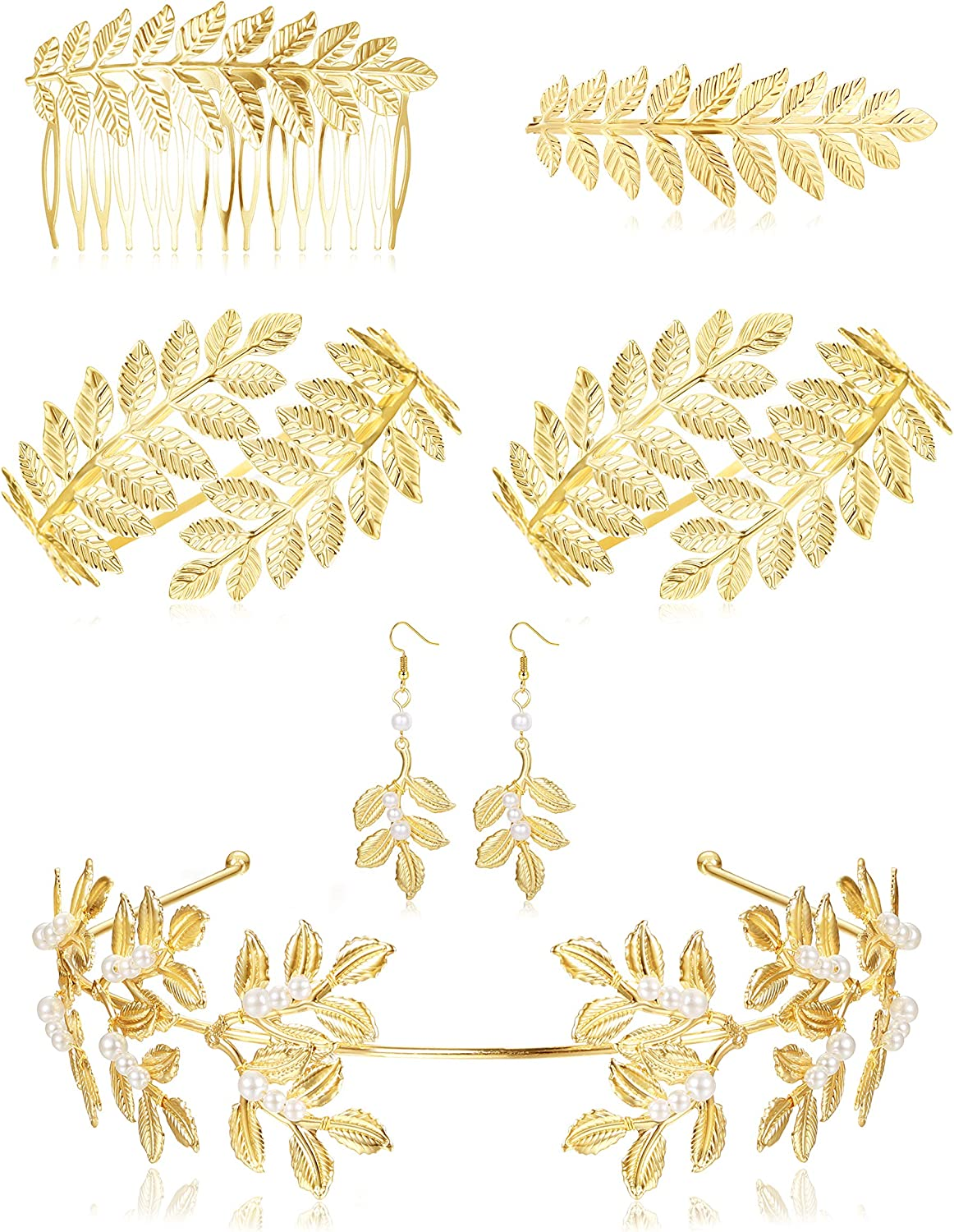 ORAZIO 6Pcs Grecian Goddess Costume Accessories Set Greek Leaf Headband Coil Bracelet Artificial Pearl Earrings Golden Leaves Bridal Hair Comb for Women Wedding Party