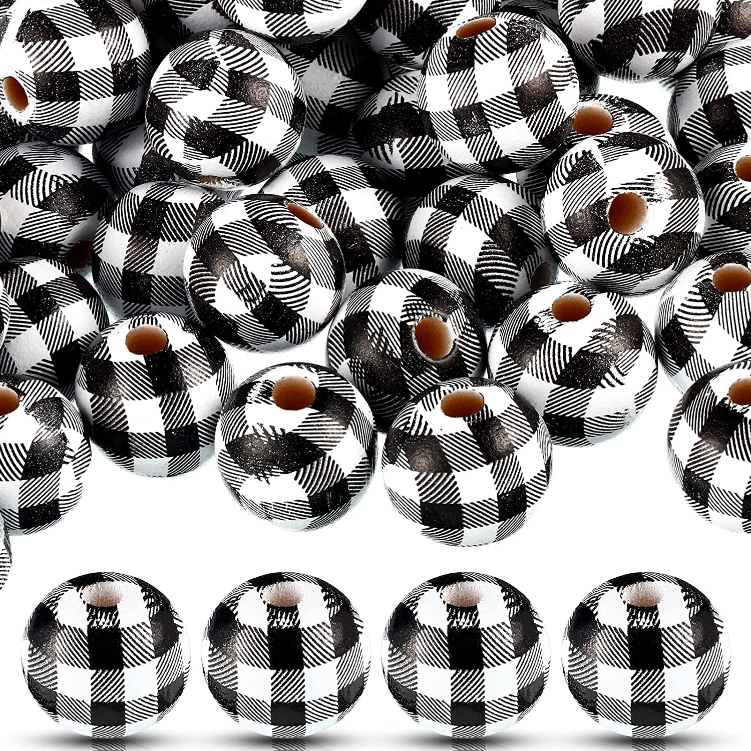 100 Pieces Plaid Wood Beads Buffalo Plaid Print Wooden Beads Rustic Farmhouse Wood Beads Natural Handmade Round Bead Polished Spacer Bead (Black and White, 1.6 cm)