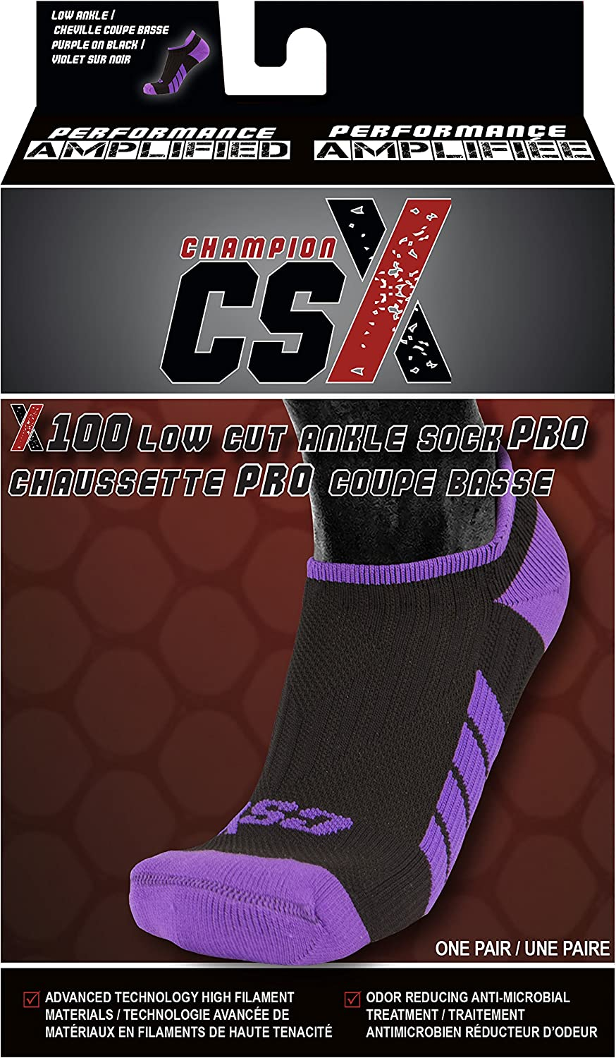 Purple on Black Men and Women Low Cut Fit CSX Ankle Socks Large Arch Support Compression