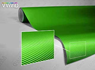 VViViD Lime Green 3D Carbon Fiber 5 Feet x 1 Foot Vinyl Wrap Roll with Air Release Technology