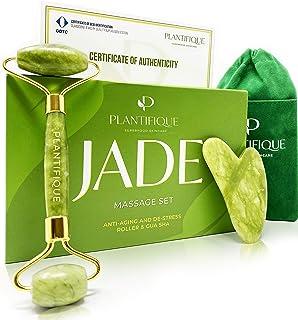 comprar comparacion Premium Rodillo de Piedra De Jade Autentico Certificado Para Rostro 100% Natural - Masajeador Facial Antienvejecimiento Co...