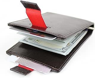 Men's Slim Full Grain Leather Bifold Pull Tab Minimalist Money Clip Wallet with RFID Blocking Technology