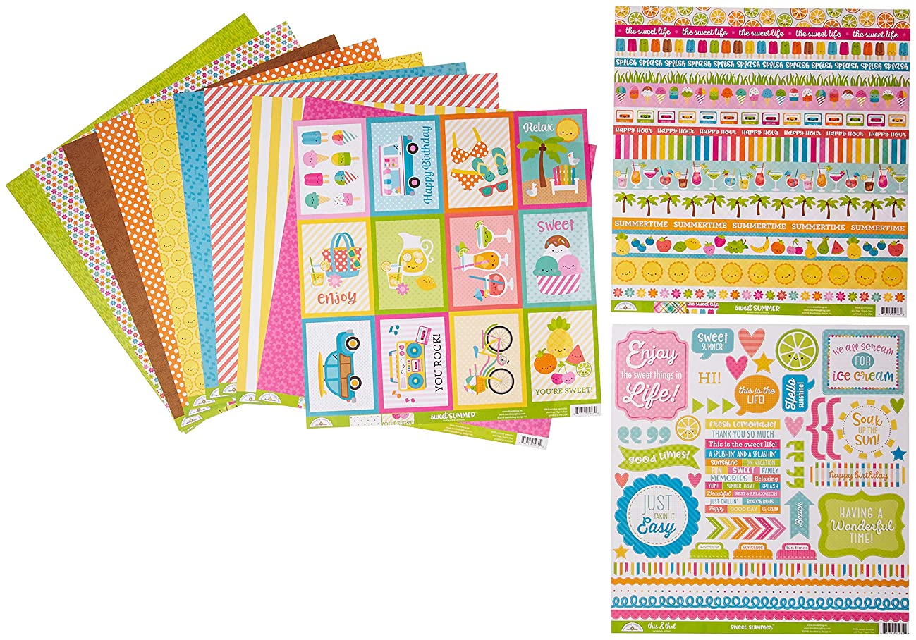 Doodlebug 5998 Sweet Summer Double-Sided Paper Pack, Multicolor