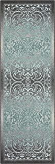 Maples Rugs Runner Rug - Pelham 2' x 6' Non Skid Hallway Entry Rugs Runner [Made in USA] for Kitchen and Entryway, Grey/Blue