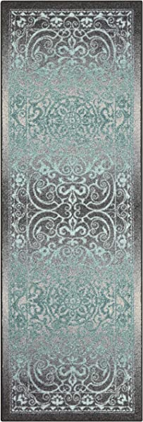 Maples Rugs Runner Rug Pelham 2 X 6 Non Skid Hallway Entry Rugs Runner Made In USA For Kitchen And Entryway Grey Blue