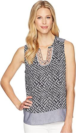 Printed Sleeveless Blouse with Embroidered Placket