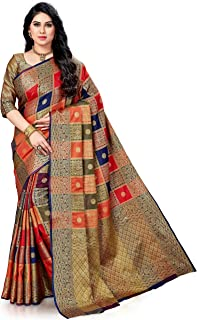 MSRETAIL Silk Saree with Blouse Piece (HM-WAVES-5032-E_Blue_Free)