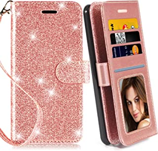 Galaxy Note 4 Case, with Screen Protector, TPU + Leather Bling Glitter Flip Wallet Case with Kickstand Credit Card Holder Slot for Girls/Women for Samsung Galaxy Note 4, Rose Gold