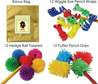 36 Piece Fidget Pencil Toppers, Wraps & Grips Bundle Pack For Kids at Home or in School Classroom