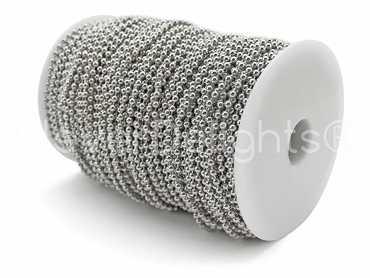 CleverDelights Ball Chain Spool - 330 Feet - 3.2mm Ball (#6 Size) - Antique Silver (Platinum) - 100 Meter