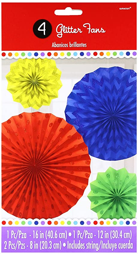 Glitter Paper Fans | Primary | Party Decor