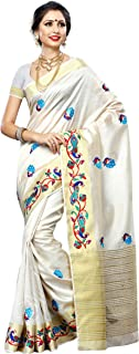 MIMOSA Women'STassar Silk Saree with Hand Embroidery Color:Half White (3220-2085-EMB-HWHT)