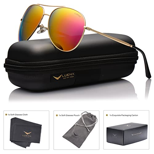 5a7a2d7136b LUENX Aviator Sunglasses Polarized Men with Accessories Metal Frame UV400  60MM (Rose Red-7
