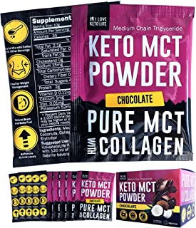 iLoveKetoLife C8 MCT Oil Powder Chocolate Flavor with Collagen - Instant Keto Powder Drink Supplement for Ketogenic Diet, ...