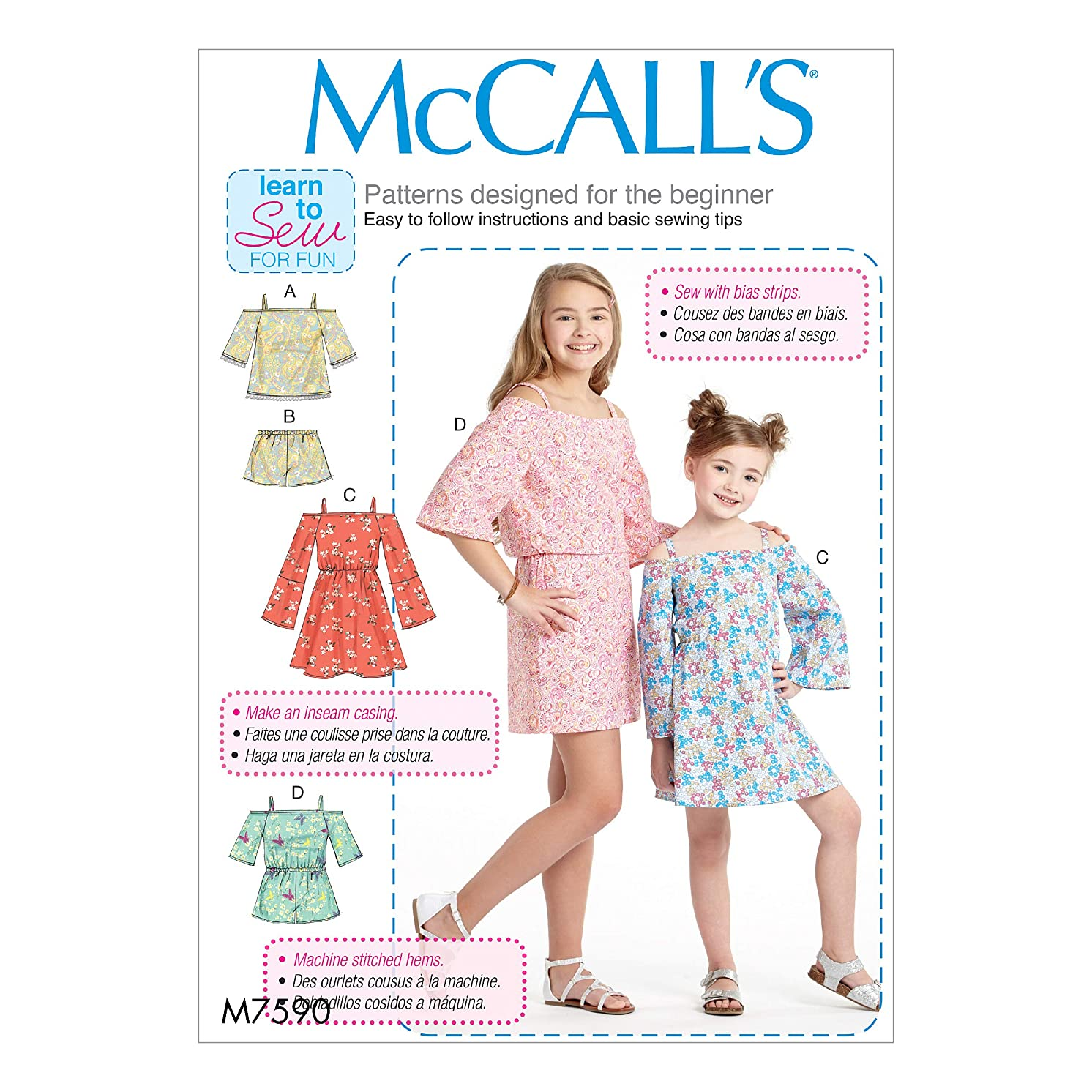 McCall's M7590CCE Children's/Girls' Off-The-Shoulder Top, Dress and Romper with Sleeve Variations Sewing Pattern 3-4-5-6