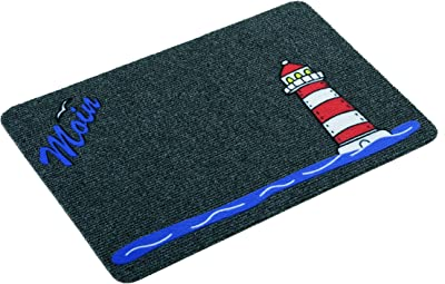 Astra Premium Rep Mat Flocky Color Polypropylene Entrance Door Mat 40 x 60 x 0.8 cm, Leuchtturm - Grau/Anthrazit, 40 x 60 x 0,8 cm