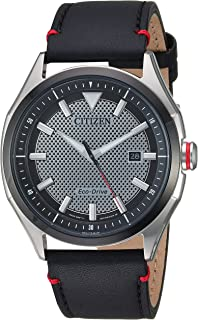Men's Eco-Drive Stainless Steel Japanese-Quartz Leather Calfskin Strap, Black Casual Watch (Model: AW1148-09E)
