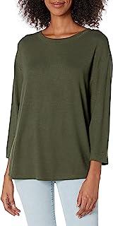 Daily Ritual cómoda túnica de Punto con Cuello Bateau y Mangas 3/4 Camisa túnica para Mujer