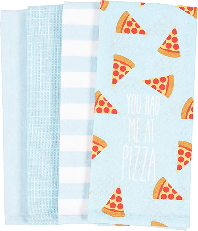 KAF Home Pantry You Had Me At Pizza All Over Kitchen Dish Towel Set Of 4 100 Percent Cotton 18 X 28 Inch