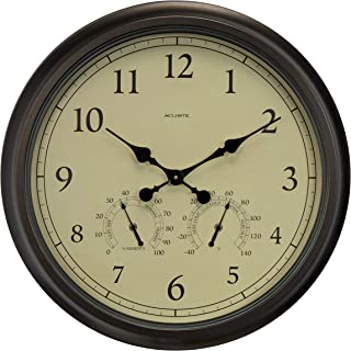AcuRite 24-inch Weathered Wall Clock with Thermometer and Hygrometer