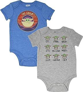 Star Wars The Mandalorian Baby Yoda Baby Boys 2 Pack Bodysuits 0-3 Months Blue/White