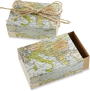 """Kate Aspen """"Around The World Map Favor Gift Box, Wedding/Party Decorations, Set of 24"""