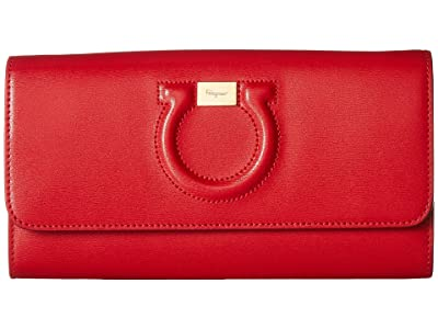 Salvatore Ferragamo Gancio City Leather Wallet on A Chain (Lipstick) Cross Body Handbags