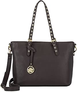 Women's Handbag Faux Leather Extra Large Over the Shoulder Tote Bag Dark Chocolate Brown Gold Accents