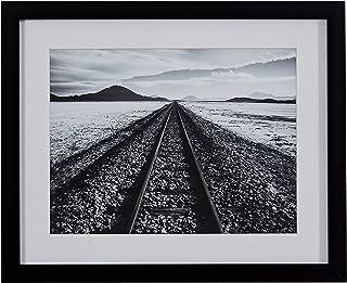 Black and White Desert Railroad Tracks Photography Wall Art Print, Black frame, 15