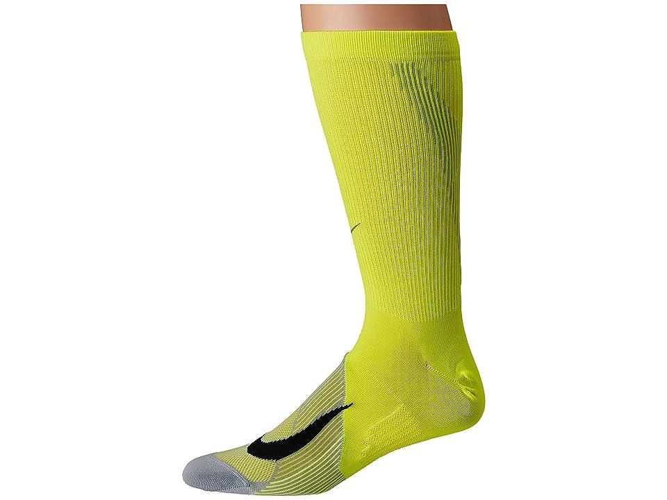 Nike Elite Lightweight Crew Running Socks (Volt/Wolf Grey/Black) Crew Cut Socks Shoes