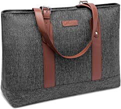 DTBG Laptop Tote Bag 15.6Inches Laptop Bag Nylon Shoulder Bag Women Briefcase Lightweight Handbag with Padded Compartment for Work Business Travel shopping(Grey)