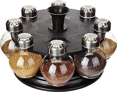 Amazon Brand - Solimo Upright Revolving Plastic Spice Rack, Round, 8 Pieces