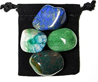The Magic Is In You Leukemia Fighter Tumbled Crystal Healing Set with Pouch & Description Card - Aventurine, Bloodstone, Lapis Lazuli, and Quantum Quattro