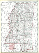 Vintage Map - 1900 Mississippi Railroads - Historic Poster Art Reproduction - 32in x 44in