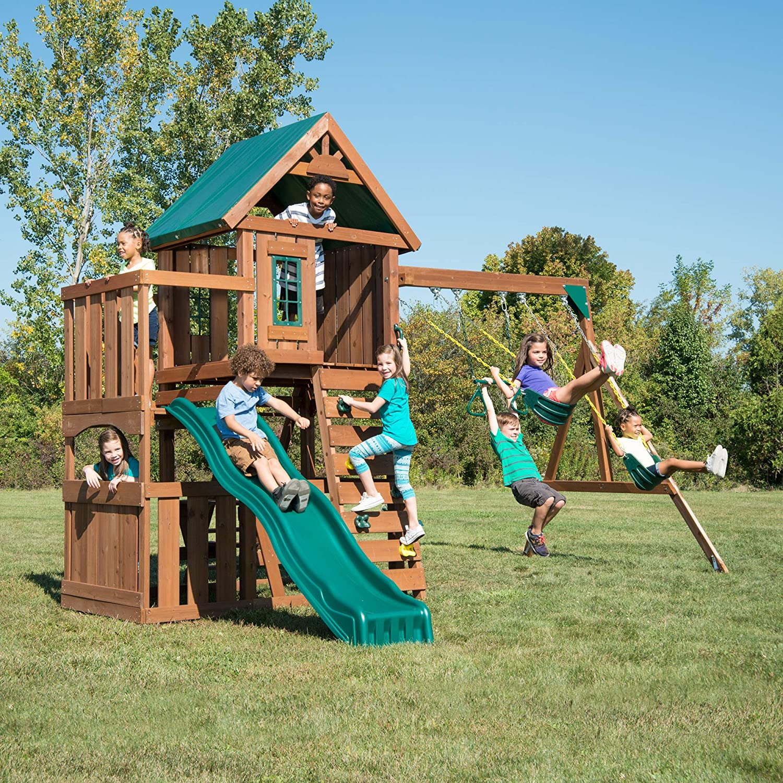 Swing-N-Slide WS 8357 Elkhorn Swing Set with Slide, Climbing Wal