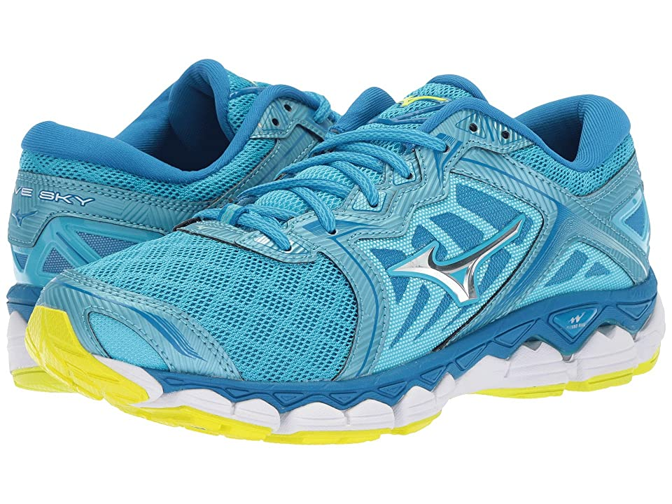Mizuno Wave Sky (Aquarius/Silver/Safety Yellow) Girls Shoes