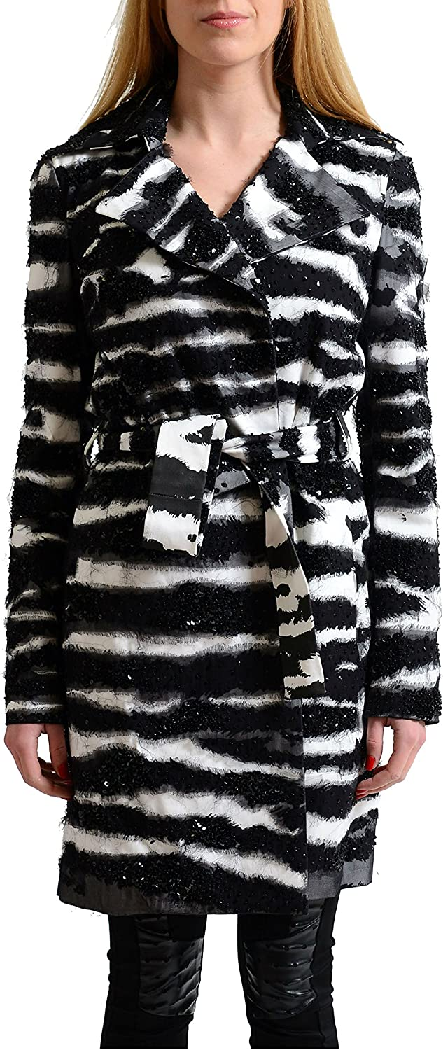 Dsquared2 Multicolor Sequins Decorated Belted Women's Basic Coat US S IT 40